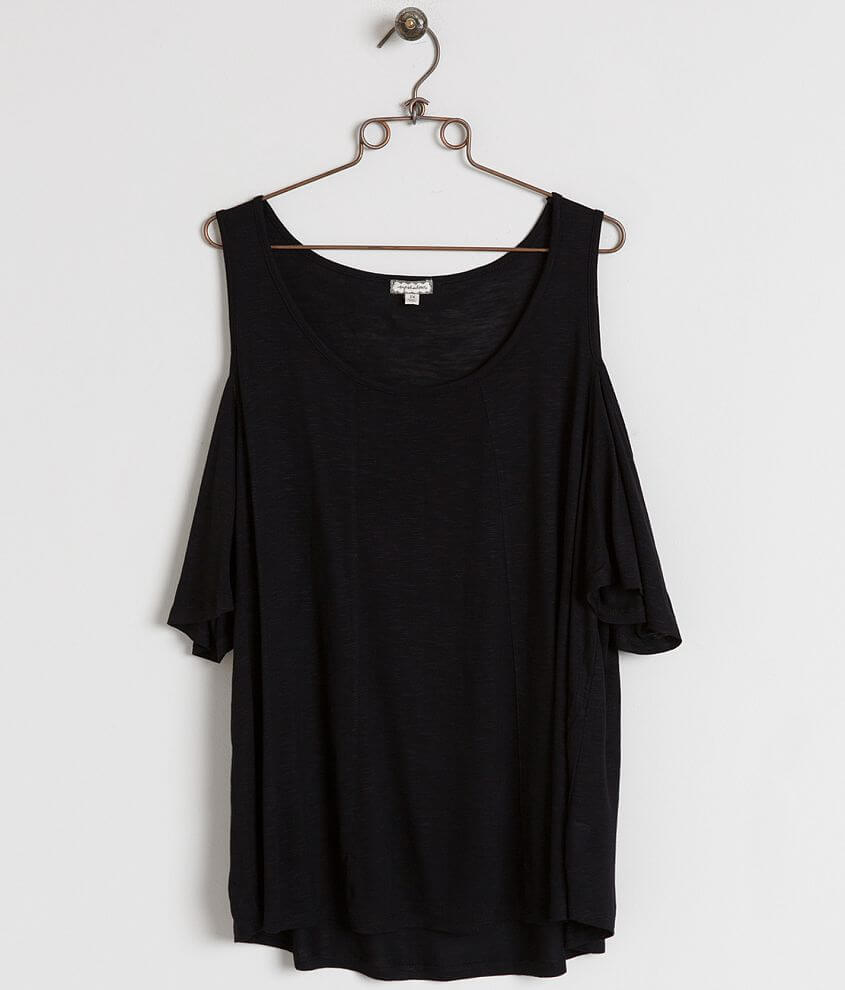Eyeshadow Cold Shoulder Top - Plus Size Only front view