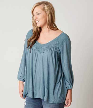 Eyeshadow Slub Fabric Top - Plus Size Only