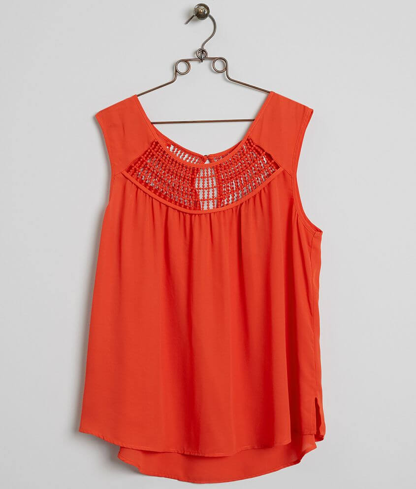 Eyeshadow Chiffon Tank Top - Plus Size Only front view