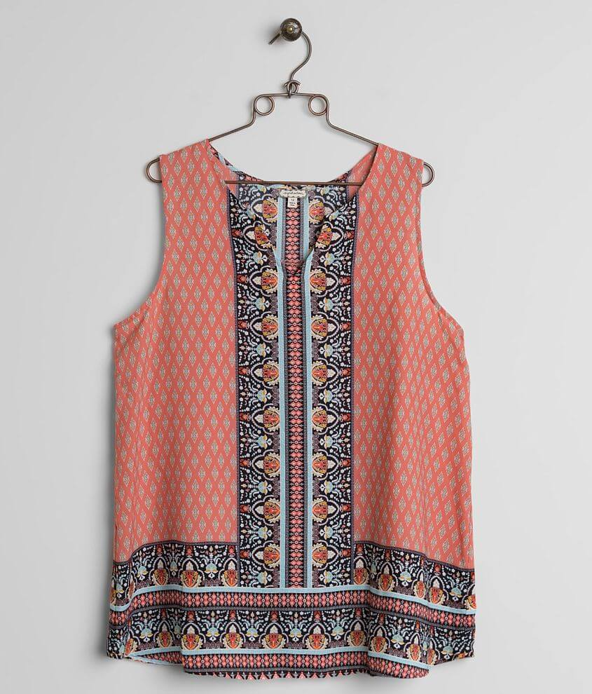 Eyeshadow Printed Tank Top - Plus Size Only front view