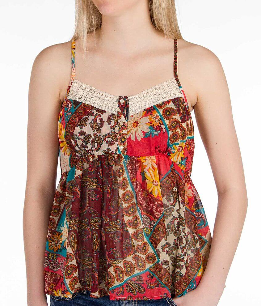 Daytrip Babydoll Henley Tank Top front view