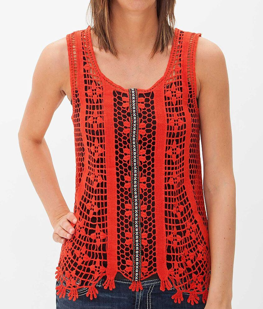 Daytrip Front Crochet Tank Top front view