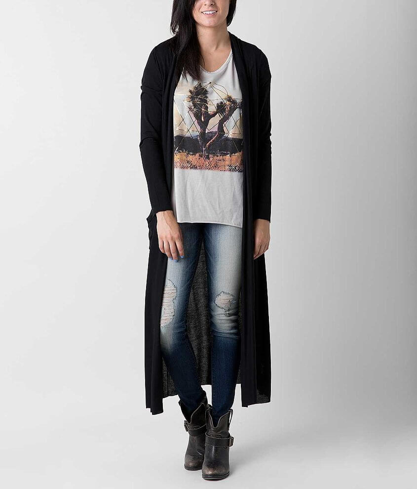 Eyeshadow Raw Edge Duster Cardigan front view
