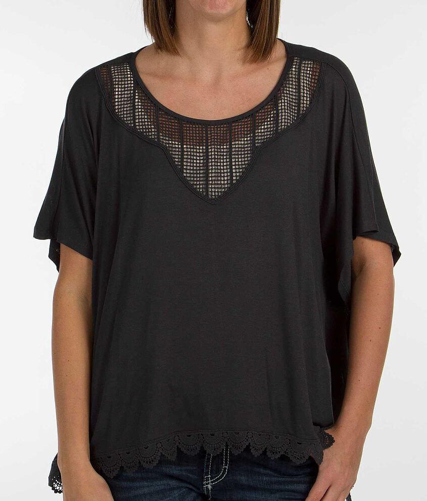 Eyeshadow Lace Trim Top front view