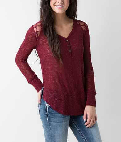 Eyeshadow Open Weave Henley Top