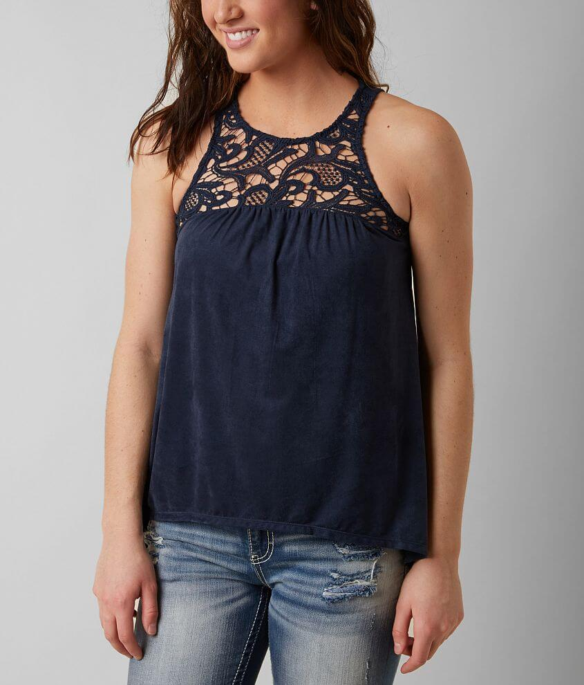 Love On A Hanger Faux Suede Tank Top front view