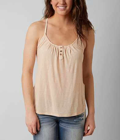 Eyeshadow Crochet Back Henley Tank Top