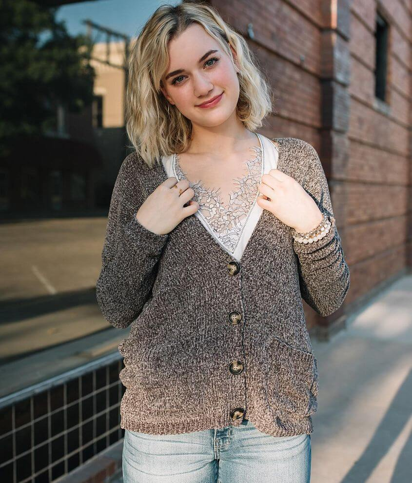 Willow & Root Chenille Cardigan Sweater front view