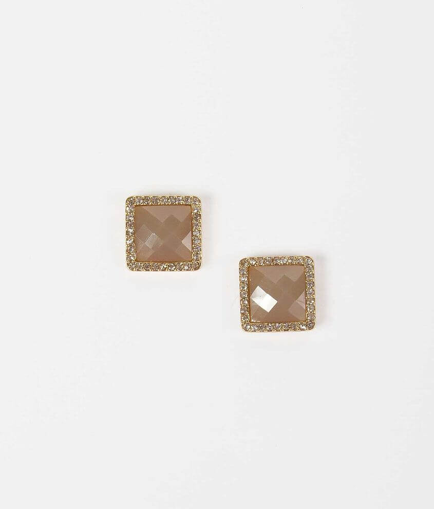 BKE Square Stone Earring front view