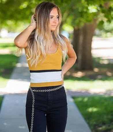 Love Tree Ribbed Knit Cropped Tank Top
