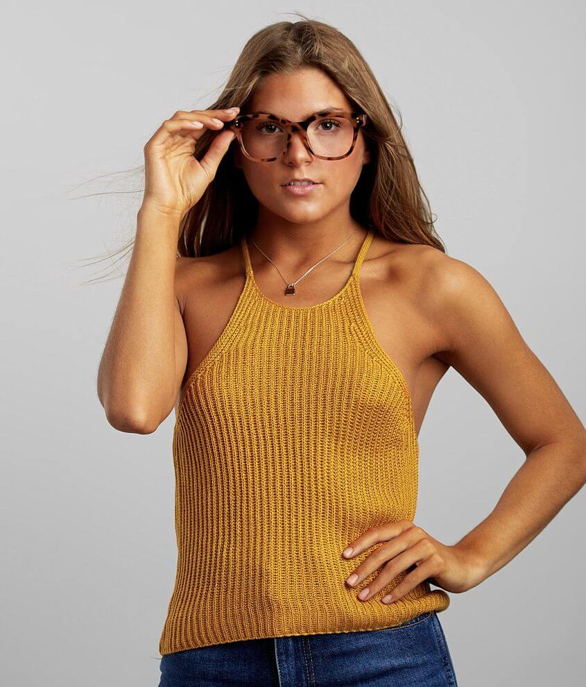 Love Tree Ribbed Sweater Tank Top front view