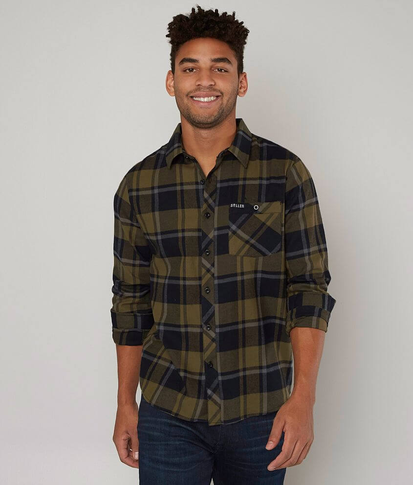 Sullen Birchwood Flannel Shirt Mens Shirts In Black Green Grey
