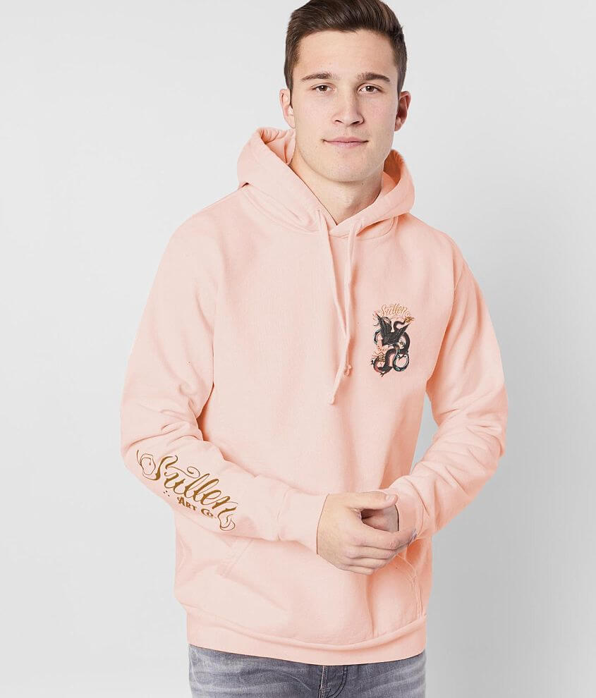 Dragon graphic fleece lined sweatshirt Sleeve hit Front pouch pocket Model Info: Height: 6\\\'3\\\