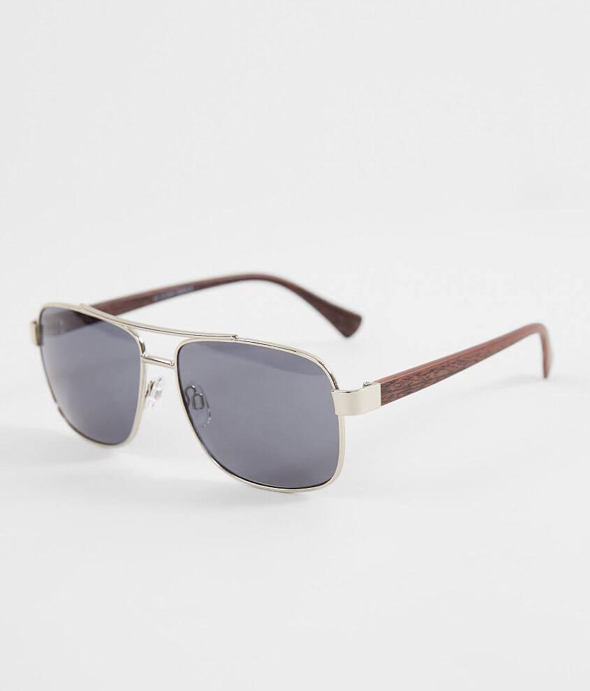 BKE Wood Stem Aviator Sunglasses front view