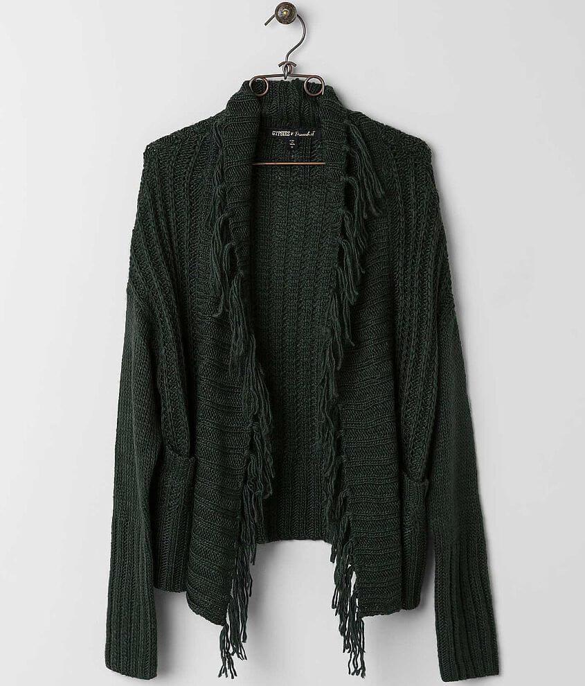 Gypsies & Moondust Fringe Cardigan Sweater front view