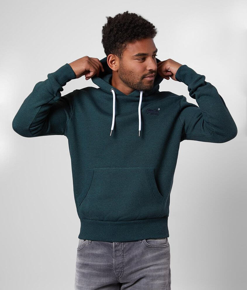 Embroidered logo heathered sweatshirt Brushed fleece lining Front pouch pocket Ribbed cuffs, hem and trim Model Info: Height: 6\\\'0\\\