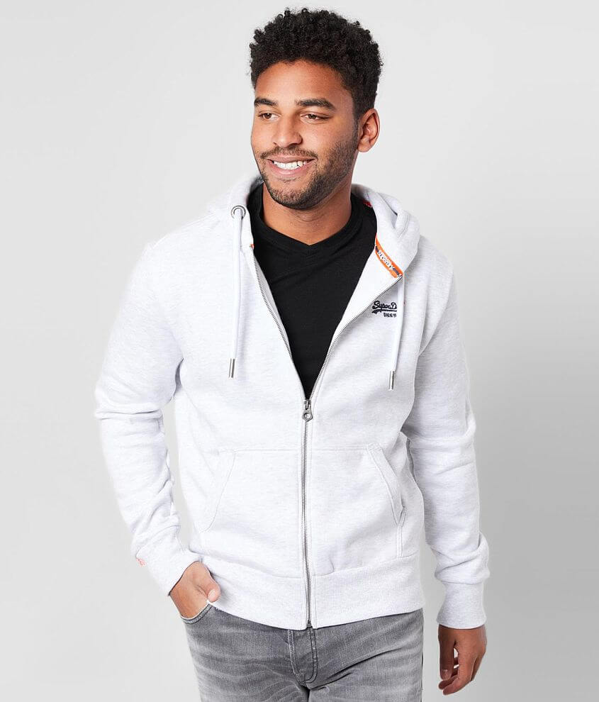 Embroidered zip front hoodie Fleece lining Ribbed trim Model Info: Height: 6\\\'0\\\