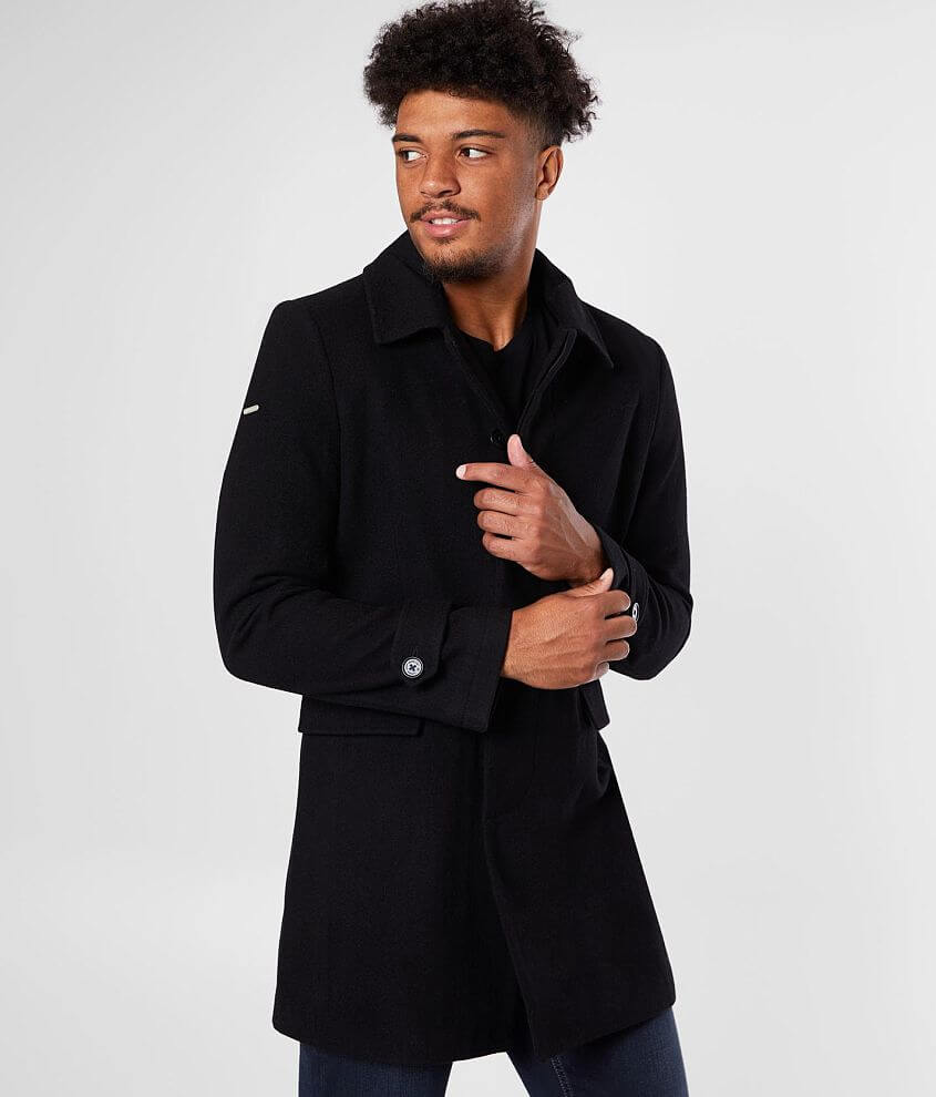 Hidden button front lined coat Front flap pockets Interior pocket Model Info: Height: 6\\\'4 1/2\\\