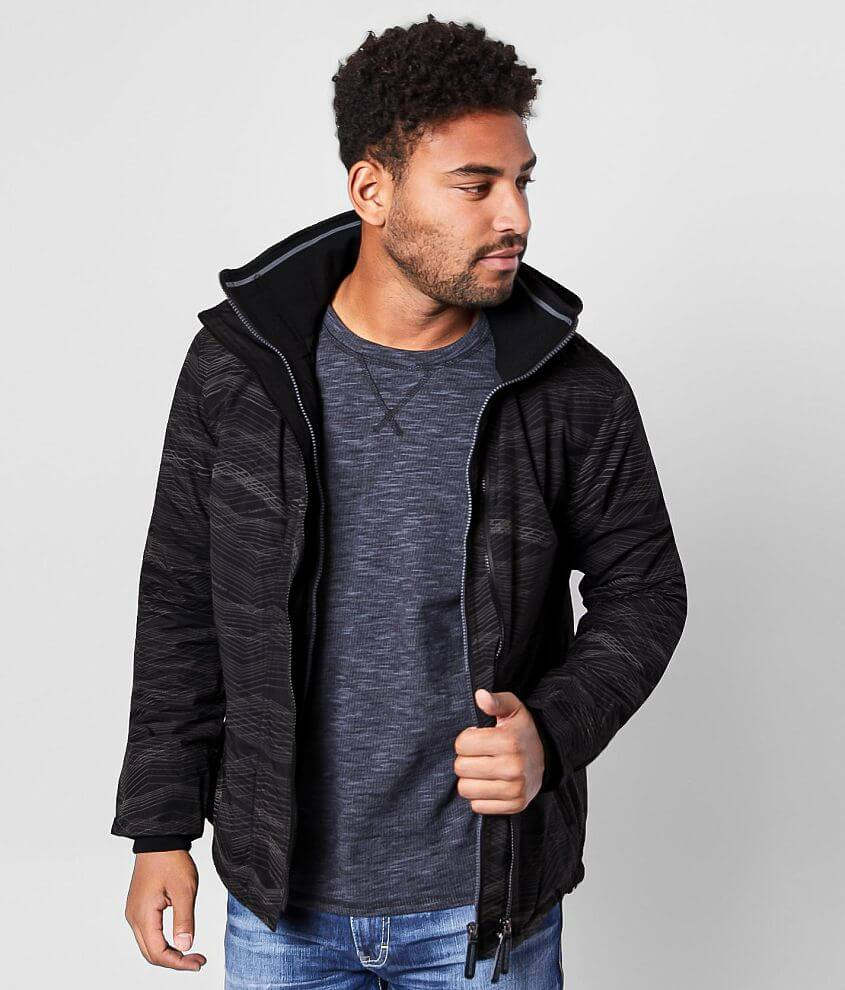 Reflective double zip front fleece lined jacket Ribbed knit collar and cuffs Front zip pockets Interior cinch tie hem Embroidered patch sleeve hit Thumbhole details Model Info: Height: 6\\\'0\\\