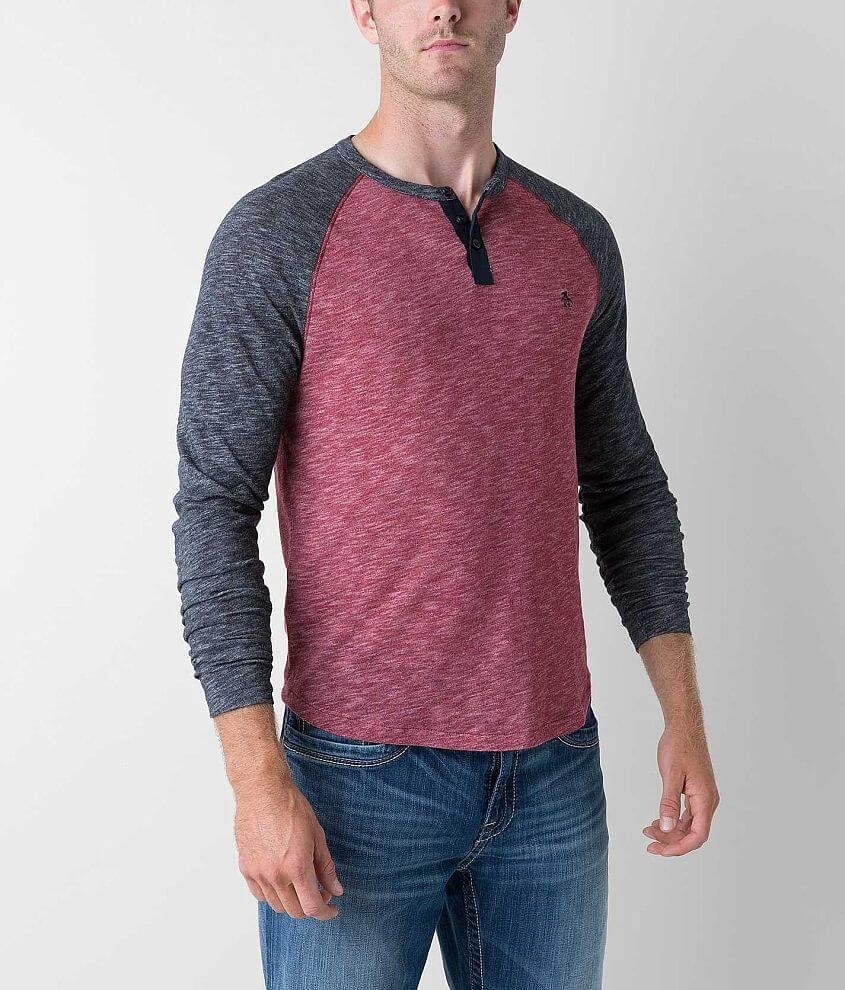 Penguin Heathered Henley front view