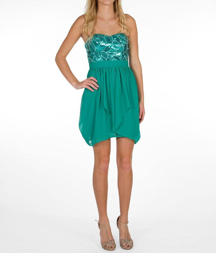 Speechless Pieced Tube Top Dress front view