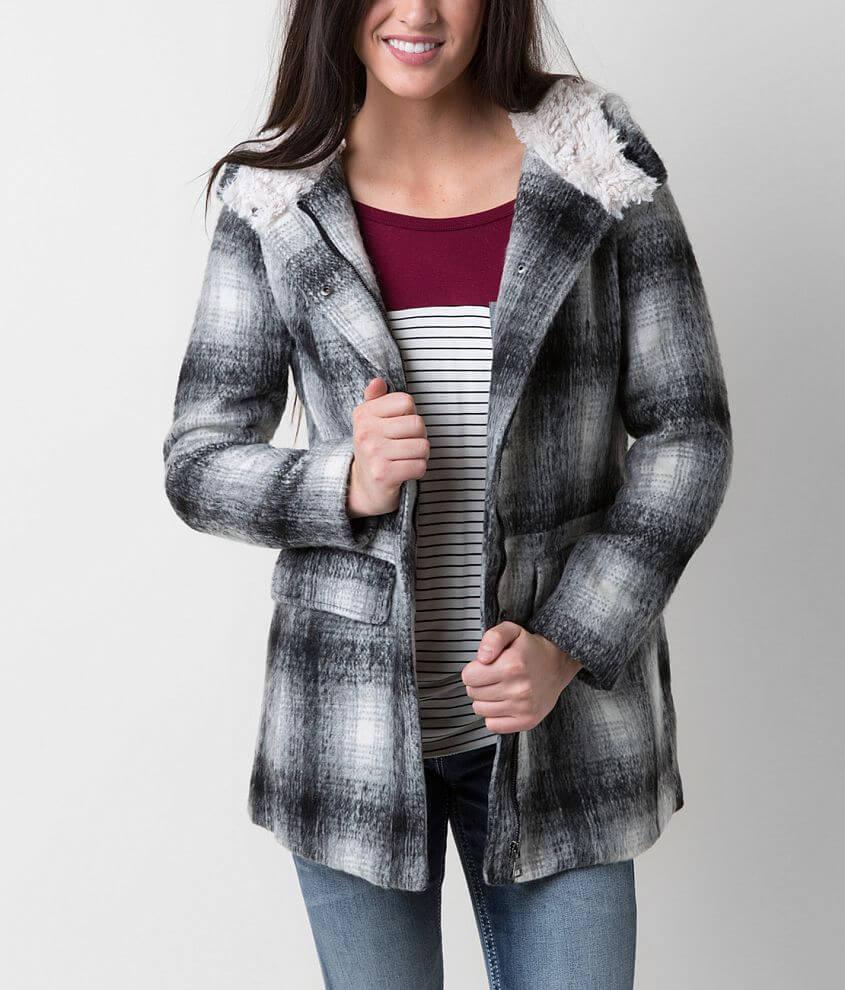 Madden Girl Plaid Coat front view