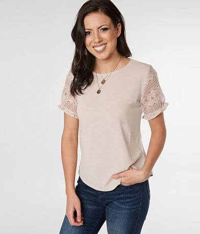 no frills Lace Sleeve Top