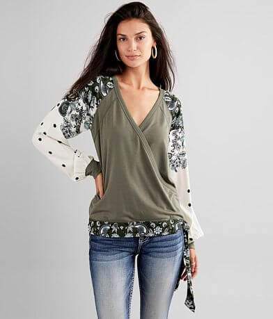 Daytrip Pieced Surplice Top