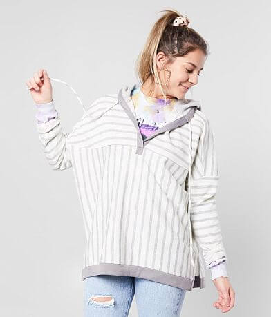 BKE Striped Split Neck Hooded Sweatshirt