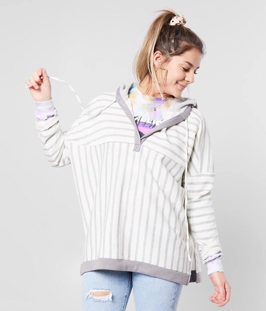 BKE Striped Split Neck Hooded Sweatshirt front view
