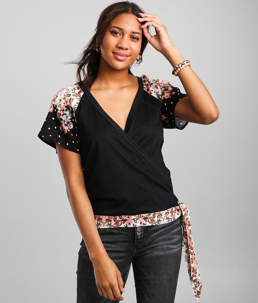 Daytrip Surplice Knit Side Tie Top front view