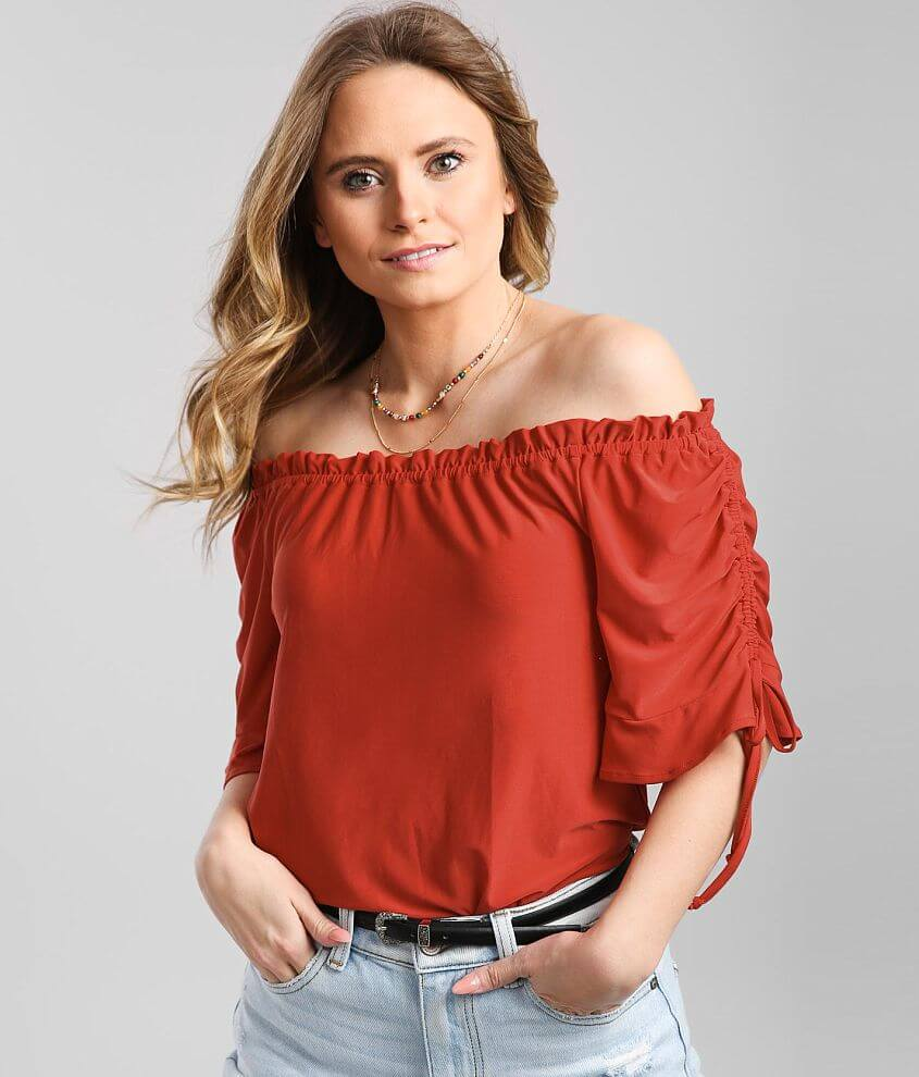 Daytrip Ruffle Trim Off The Shoulder Top front view