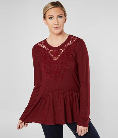 Daytrip Peplum Fleece Top
