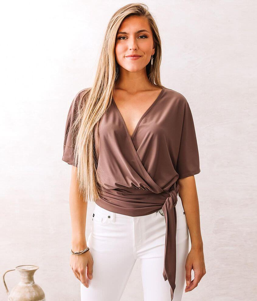 Willow & Root Front Tie Top front view