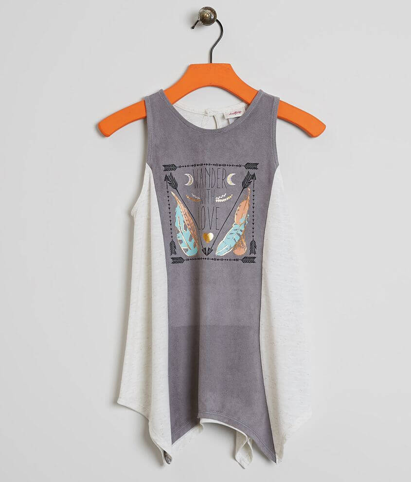Girls - Daytrip Faux Suede Tank Top front view