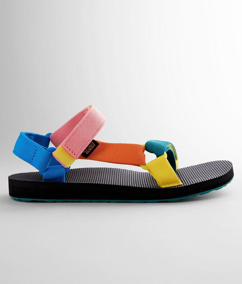 Quick drying rainbow webbed hook and latch strap sandal Cushioned EVA foam platform