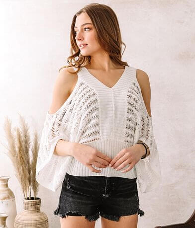 Willow & Root Cold Shoulder Cropped Sweater