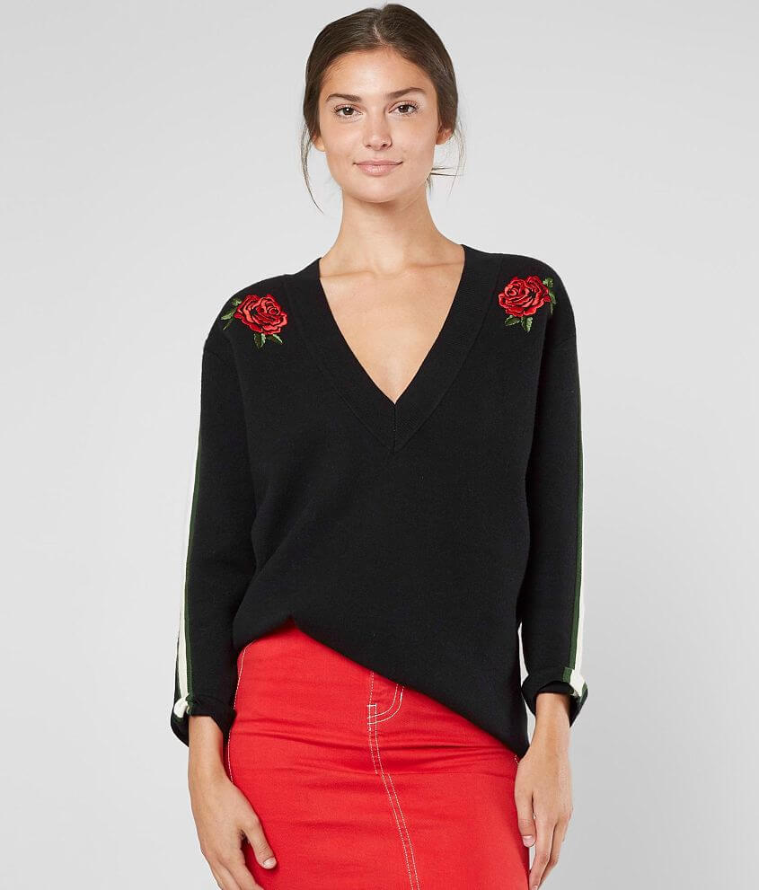 KENDALL + KYLIE Floral Embroidered Sweater front view