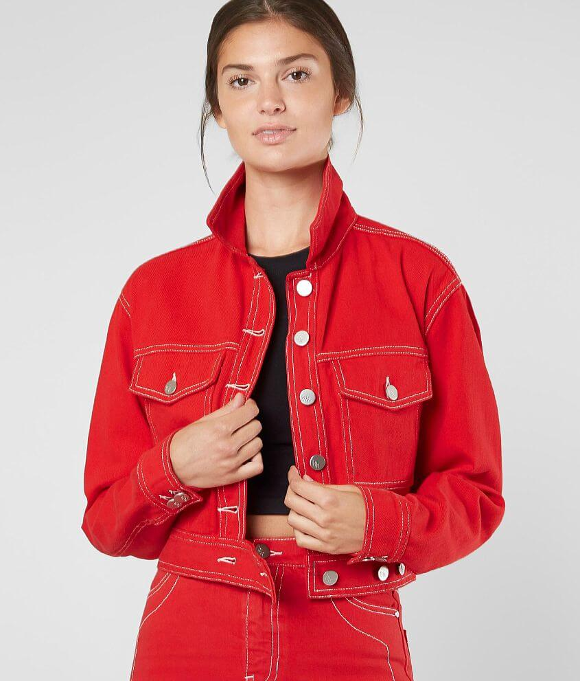 9136f6a85a69 KENDALL + KYLIE Cropped Denim Jacket - Women s Coats Jackets in Red ...