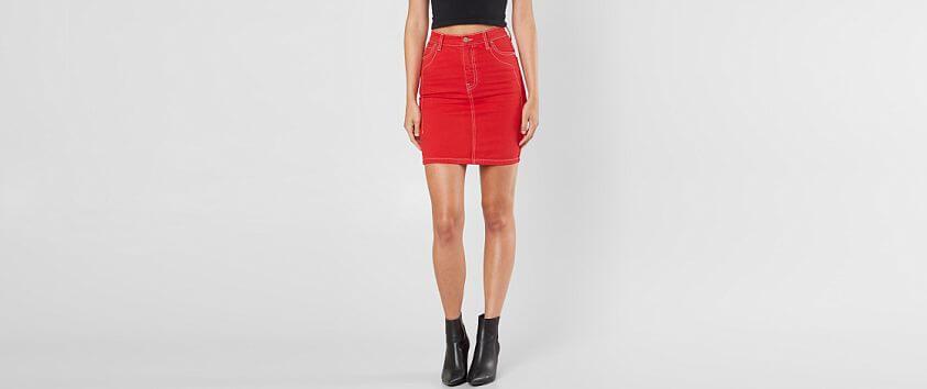 KENDALL + KYLIE Denim Mini Pencil Skirt front view