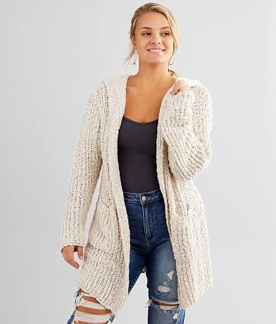 Daytrip Plush Popcorn Hooded Cardigan Sweater