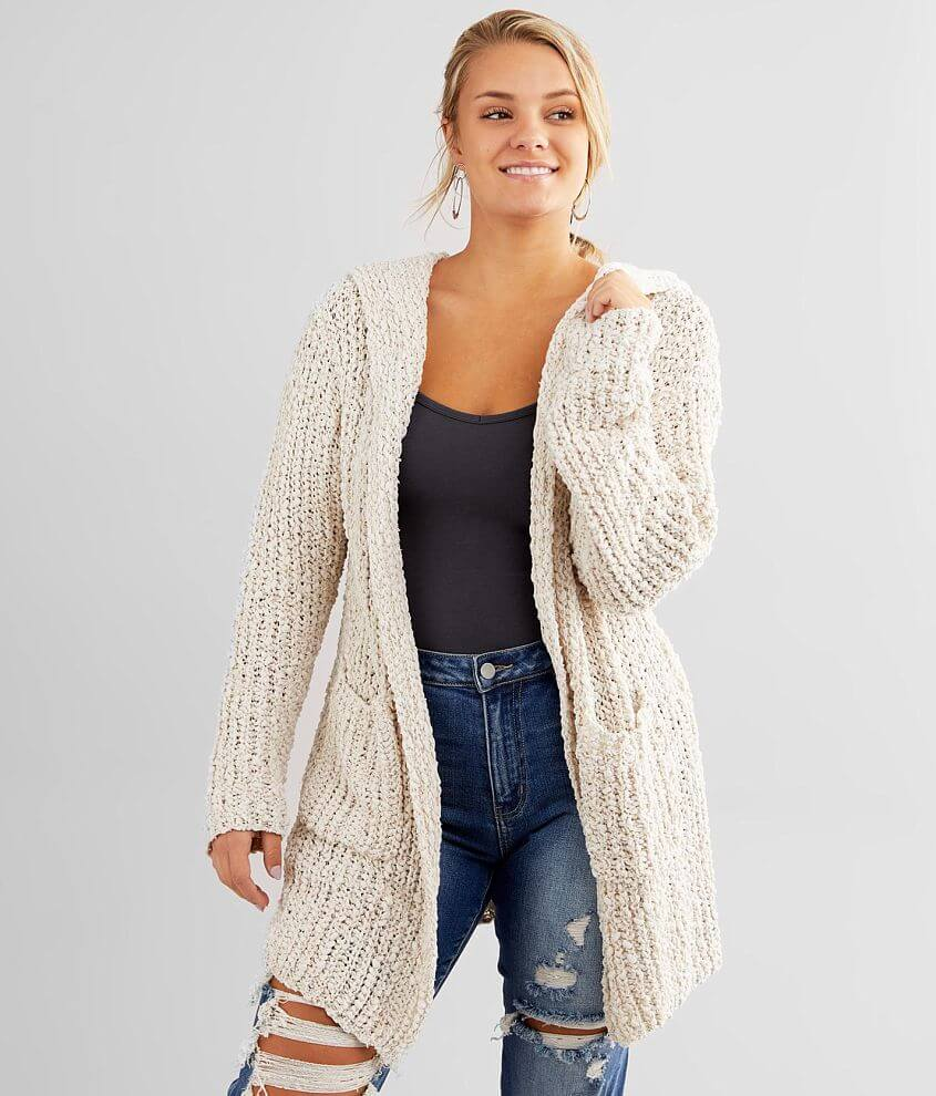 Daytrip Plush Popcorn Hooded Cardigan Sweater front view