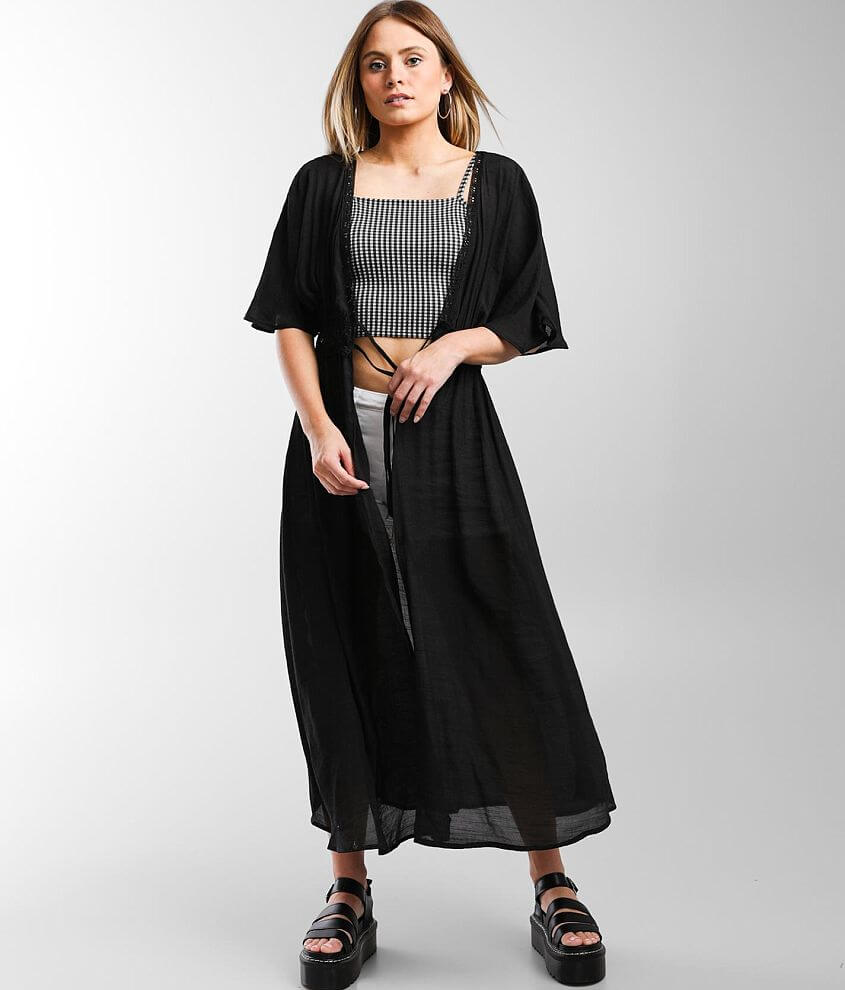 Timing Woven Floral Lace Inset Duster Kimono front view