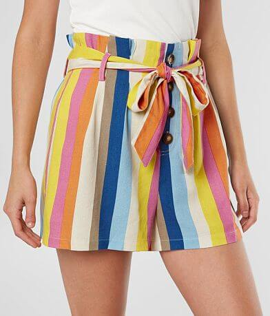 Timing Woven Striped Paperbag Short