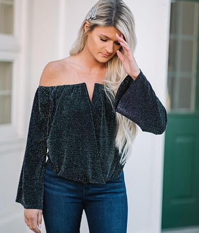 Willow & Root Off The Shoulder Shimmer Top