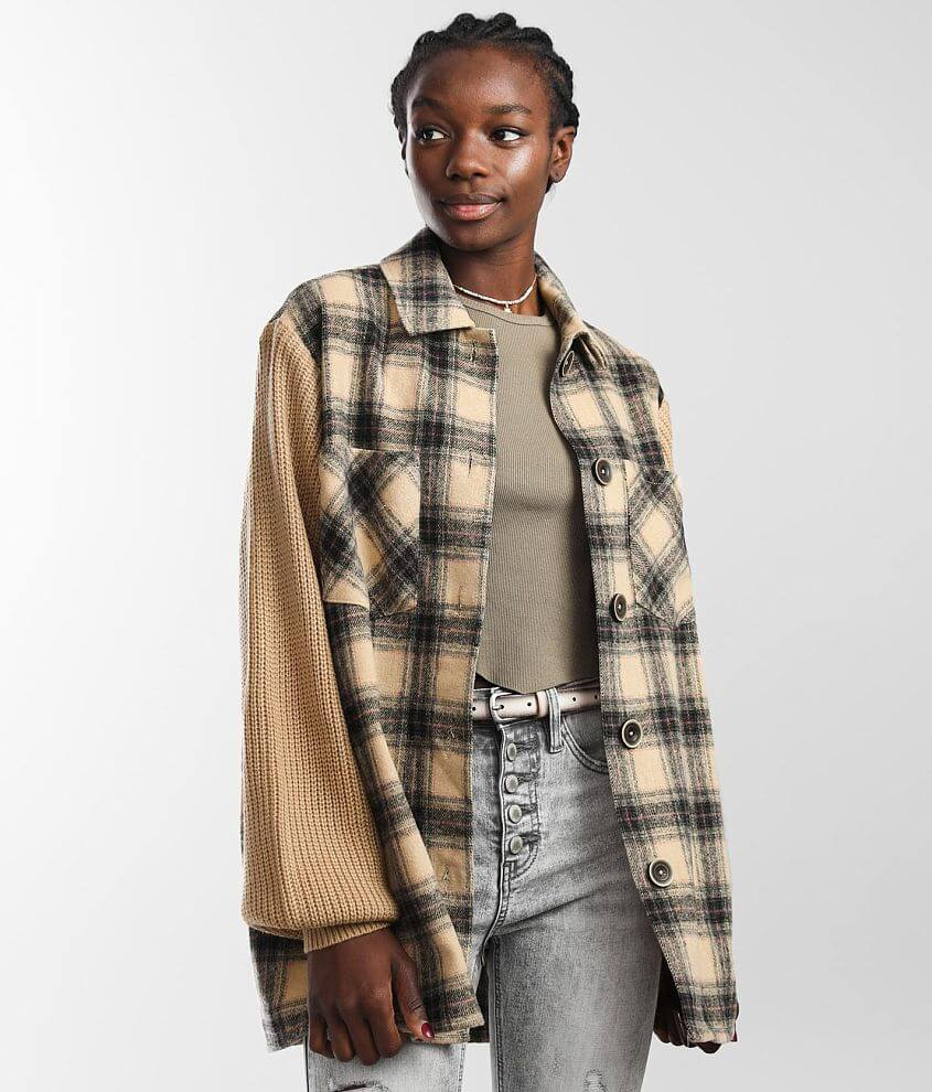 BKE Plaid Flannel Shacket front view