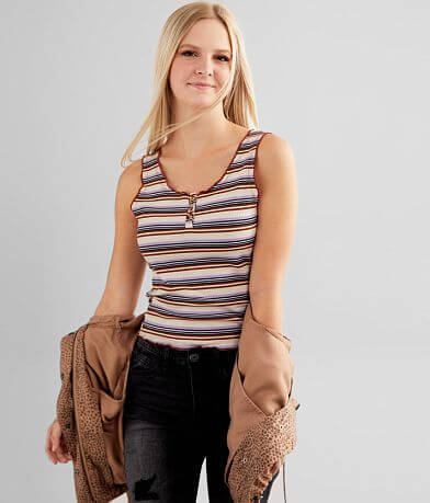 FITZ + EDDI Striped Henley Tank Top