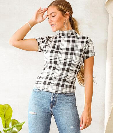 Willow & Root Plaid Tulip Back Cut-Out Top