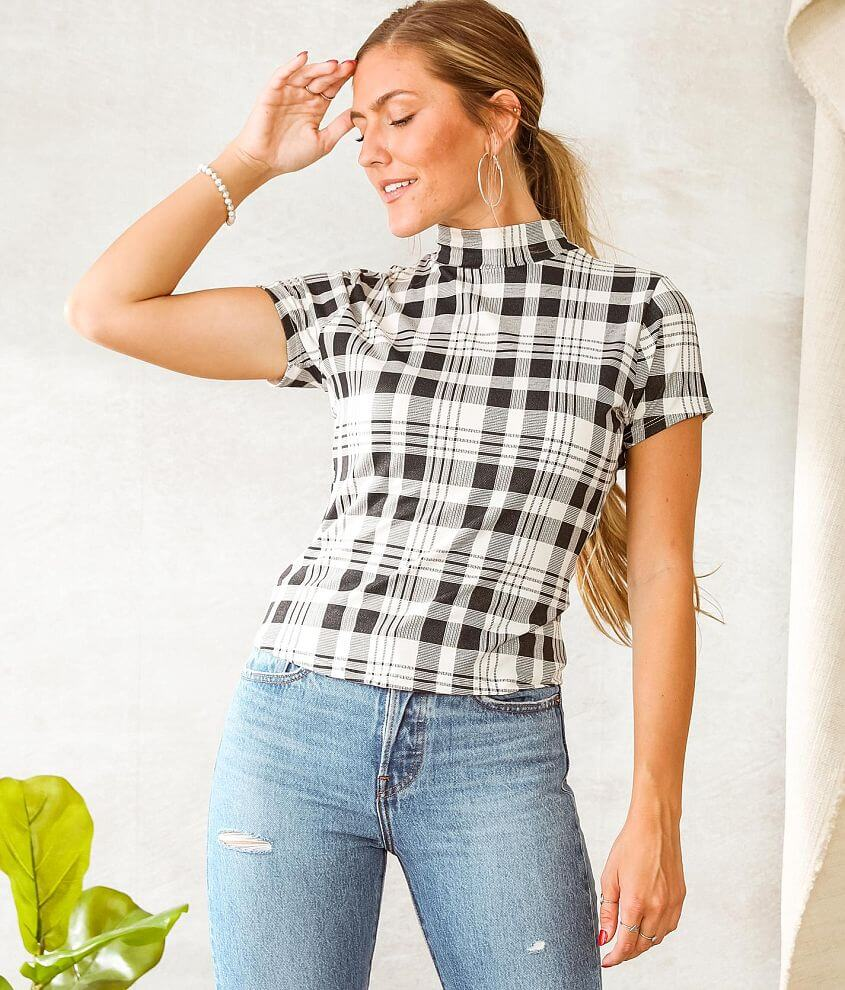 Willow & Root Plaid Tulip Back Cut-Out Top front view