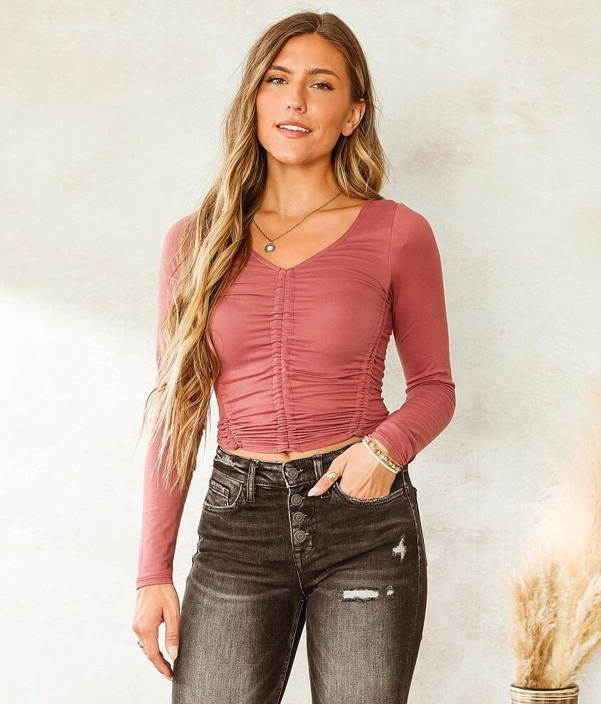 Willow & Root Ruched Crop Top front view